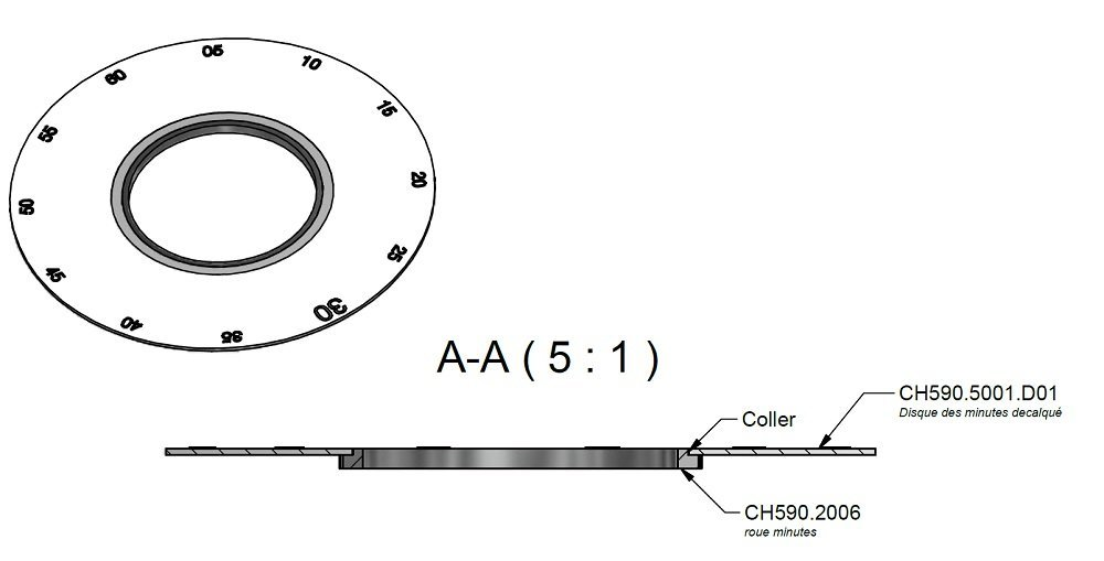 The assembly of the minute wheel and the minute display disc