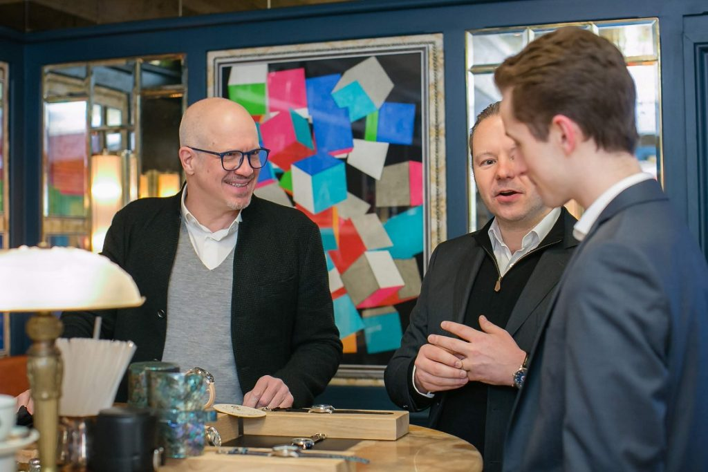 Daniel Blunschi and Steve Mansfield, the founders of snglrty watch, in conversation with a potential customer