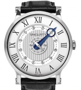 SNGLRTY with roman numerals at a dress watch