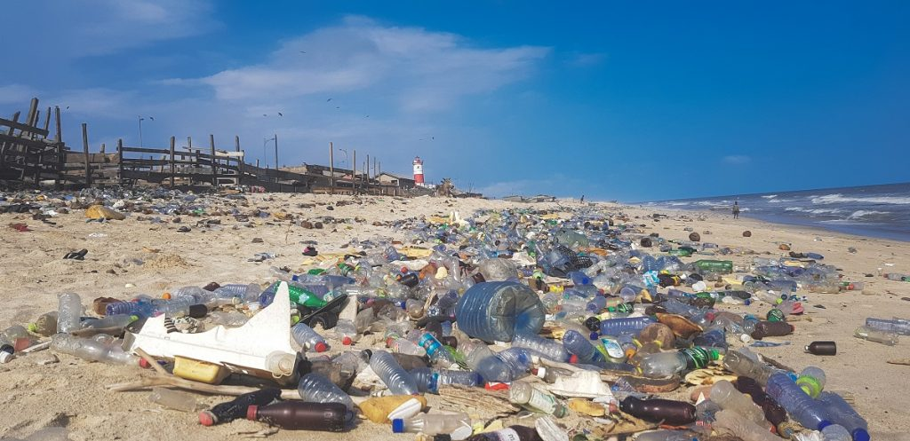 plastic waste on a beach in Chad