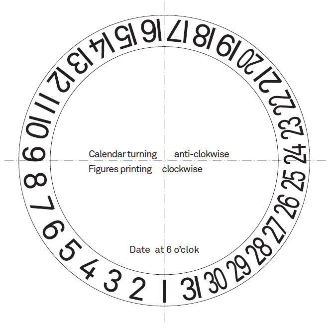 Design drawing for the SNGLRTY date disc