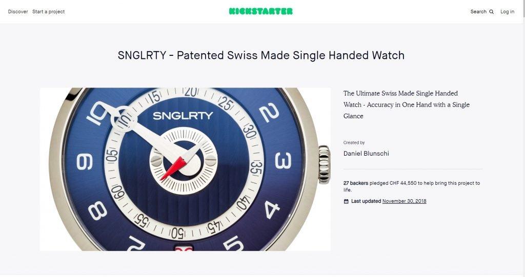 SNGLRTY Kickstarter crowdfunding page